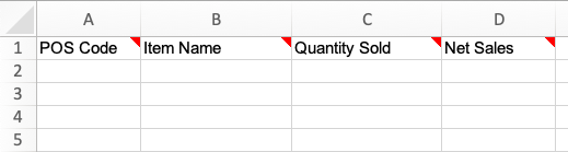 The empty sales upload template with the 4 columns as stated below.