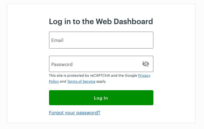 The Clover Web Dashboard Log In screen.