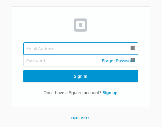 The Square sign in screen.