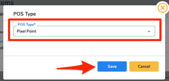 Pixel Point is selected in the drop-down menu and an arrow points at the Save button