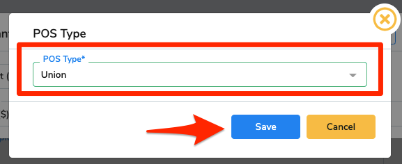 Union is selected in the drop-down menu and an arrow points at the Save button