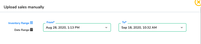 The date selector on the upload sales manually page.