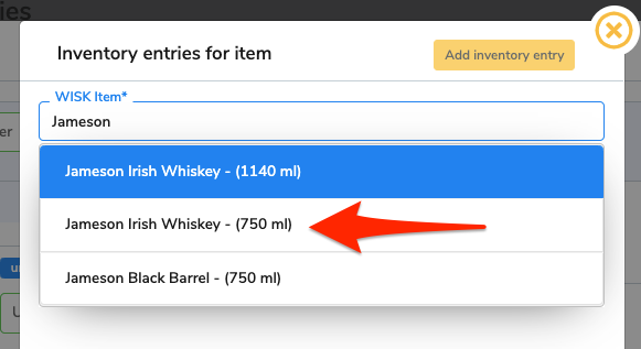 An arrow points at the item that matches the search term.