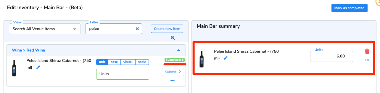 The 6 units of Pelee Island Shiraz Cabernet now appear on the area summary.
