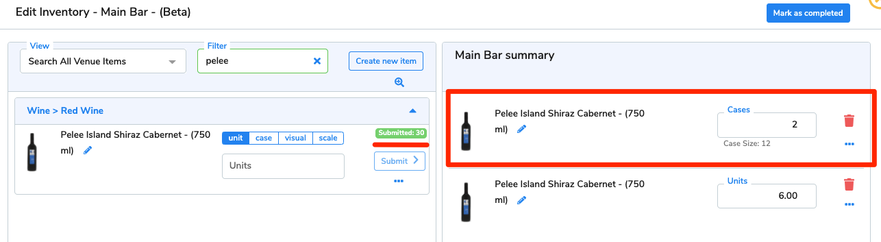The 2 cases of Pelee Island Shiraz Cabernet now appear on the area summary.