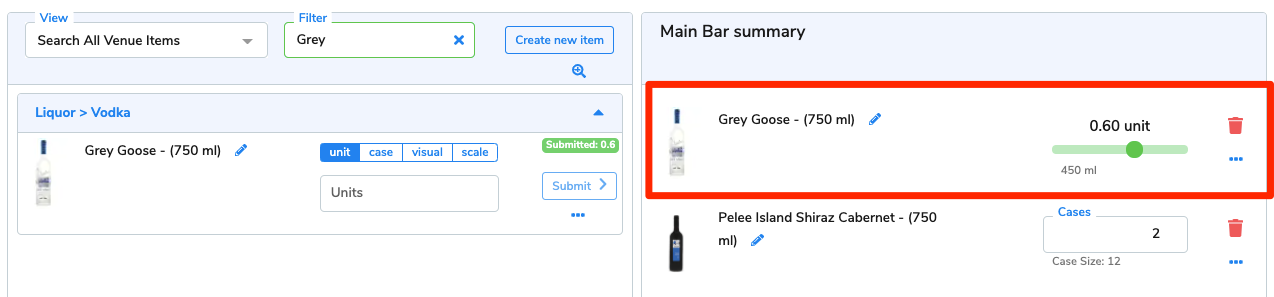The 0.6 units of Grey Goose now appear on the area summary.