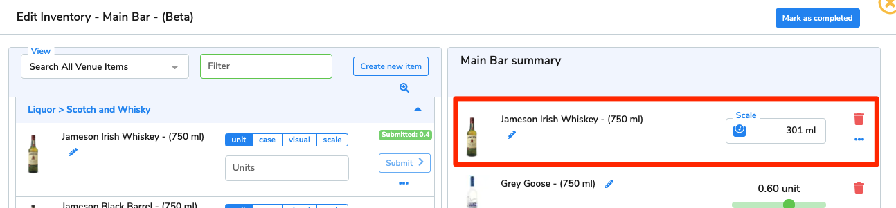 The 301ml of Jameson Irish Whiskey (750ml) now appears on the area summary.