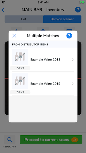 A barcode has been scanned and multiple matches display.