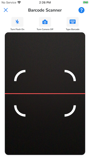 The barcode scanner screen in the WISK mobile app.