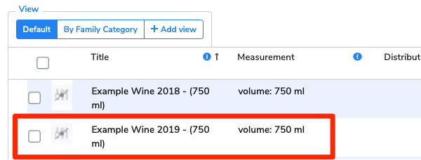 Example Wine 2019 is highlighted in the venue's list of items.