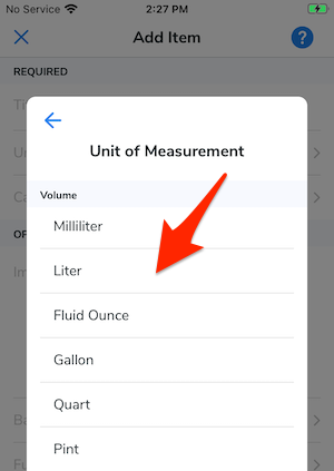 A list of volume measurements. An arrow points at