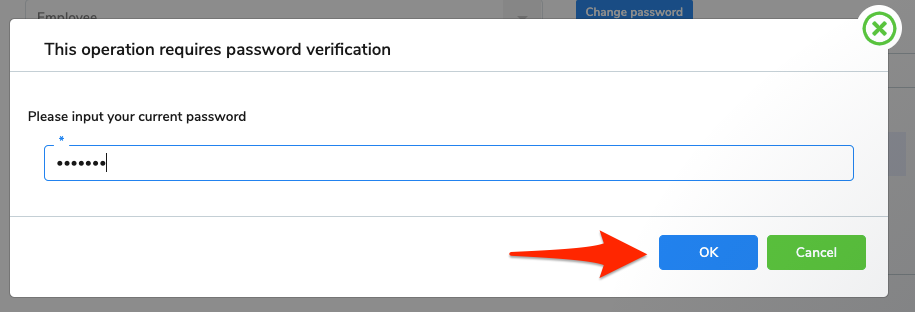 The password verification screen. The current password has been entered, and an arrow points at the