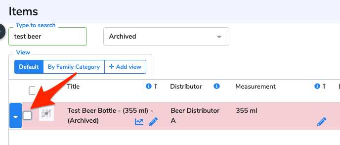 An arrow points at the checkbox beside an archived item.