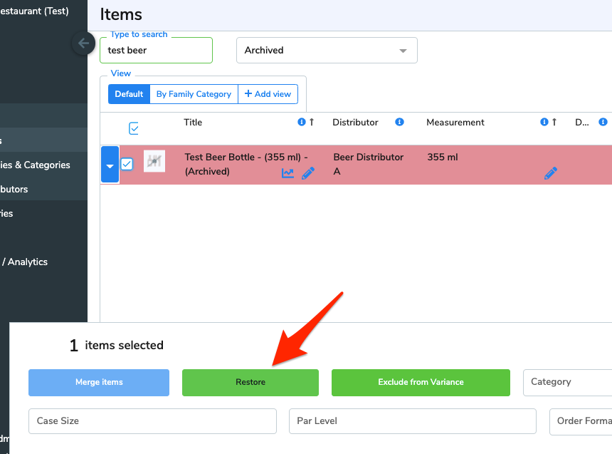 The checkbox beside an item has been selected, and a window appears along the bottom of the screen with an option to restore the selected items. An arrow points at the