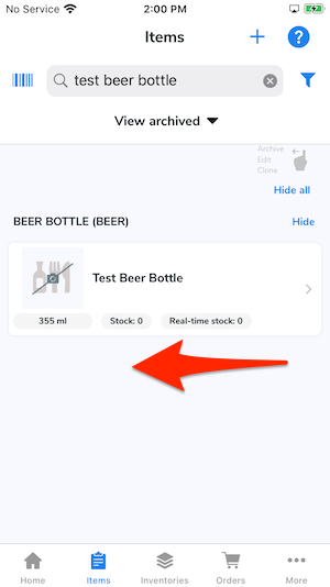 An arrow gestures to swipe the item to the left.