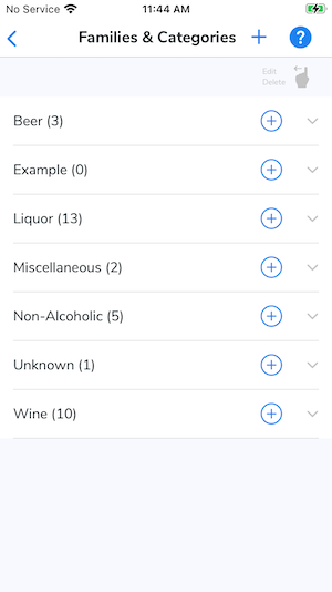 The Families and Categories screen on the mobile app.