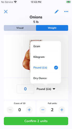 The unit of measurement drop-down menu has been tapped and it shows the different measurement options as listed above.