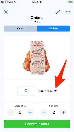 An arrow points to the unit of measurement type drop-down menu.