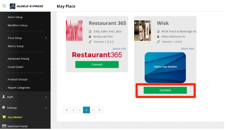 The Aldelo Back Office App Market Screen. The