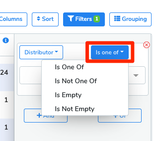 After the attribute has been selected, click the button on the right to set the filtering rules. This will vary depending on the attribute selected.