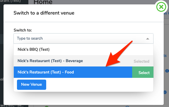 An arrow points to a Food venue from the drop-down menu on the venue switch screen.