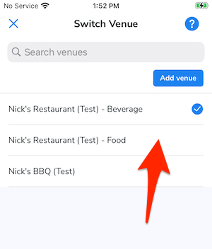 An arrow points at the Food account for the venue.