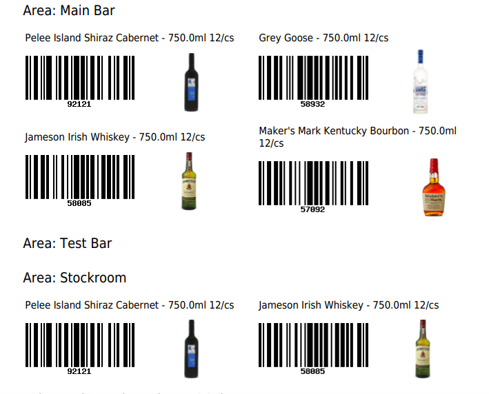 The PDF of items with their barcodes based on the unique ID in WISK and their images.