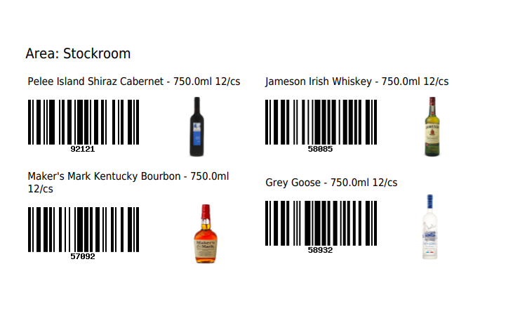 The list of barcodes and images for the selected area (Stockroom).