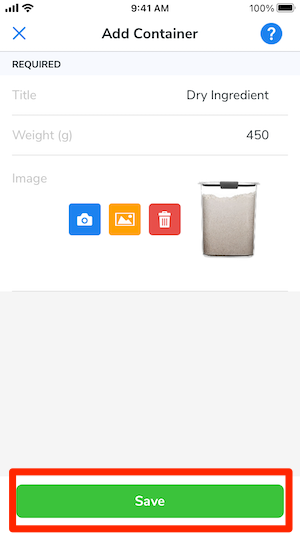 The container details have been added. Title: Dry Ingredient, Weight: 450g, and an image has been uploaded. The