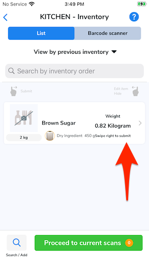 An arrow points to the item that was counted with a spout in the previous inventory count.