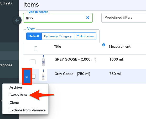 The blue arrow button beside Grey Goose 750ml is highlighted. It has been clicked, and an arrow points to