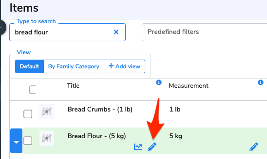 An arrow points to the pencil icon beside the item, Bread Flour.