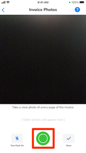 The invoice photos screen with the take picture button highlighted.