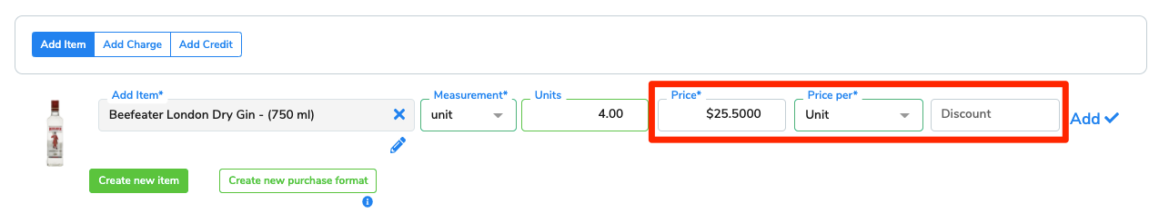 The Price, Price Per, and Discount fields are highlighted for emphasis.