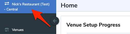 An arrow points to the active venue on the top-left of the WISK Web Portal.
