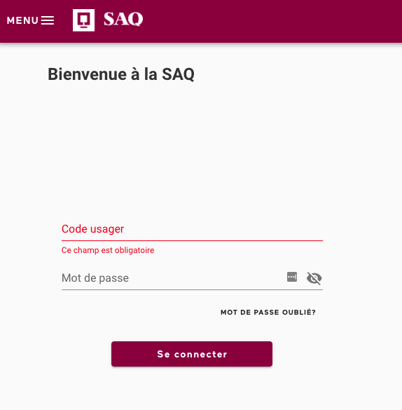 The SAQ Web Portal log in screen.