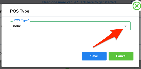 An arrow points to the drop-down menu button on the POS Type window.