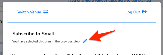 An arrow points to the pencil icon to edit the subscription type.