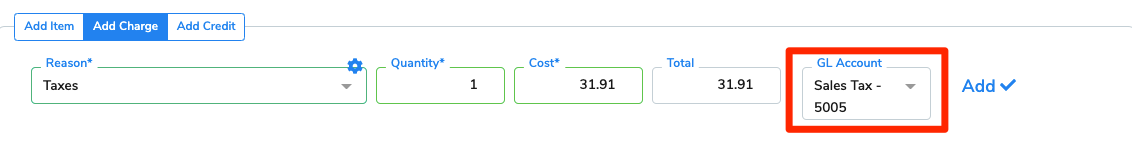 The GL Account field is highlighted for emphasis when adding a charge to the invoice.