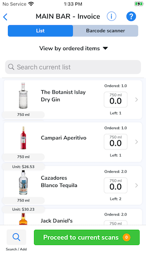 All of the ordered items appear in a list to be swiped in or modified as needed.