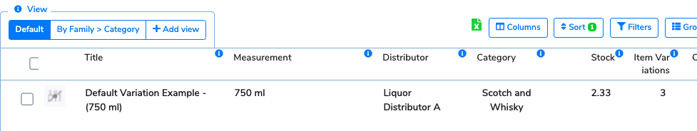 The item now displays the default variation's data on the Items Table. The stock count has been converted to reflect the smaller unit of measurement.