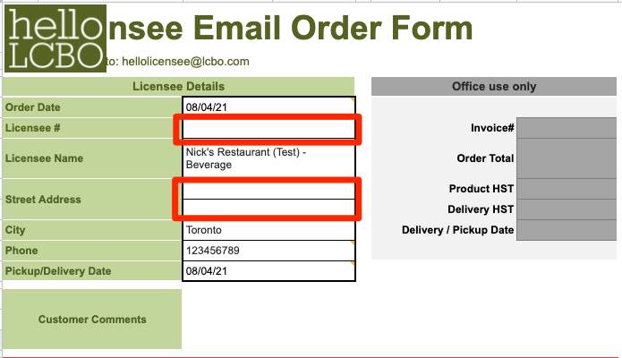 The top half of the ordering form. It populates with the date and your venue name, but needs the Licensee # and street address.