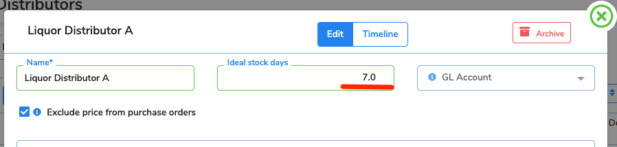 The ideal stock days have been updated to 7 for this distributor.