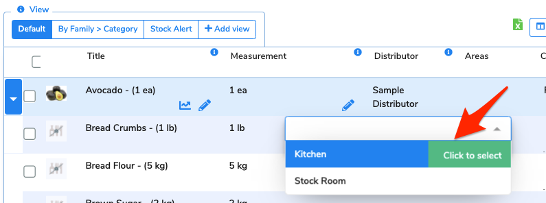 The column cell has been clicked and a dropdown shows all of the areas in the venue. An arrow points to select the kitchen.