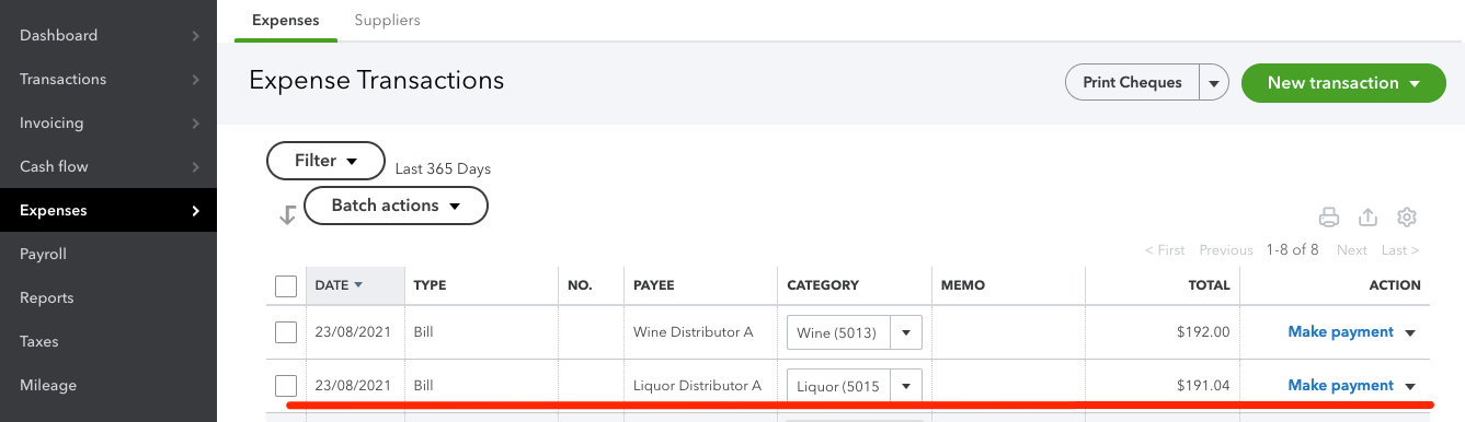 The QuickBooks interface showing the invoice that was imported from WISK.