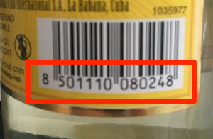 An example of a barcode with one digit on the far left, not under the lines of the barcode.