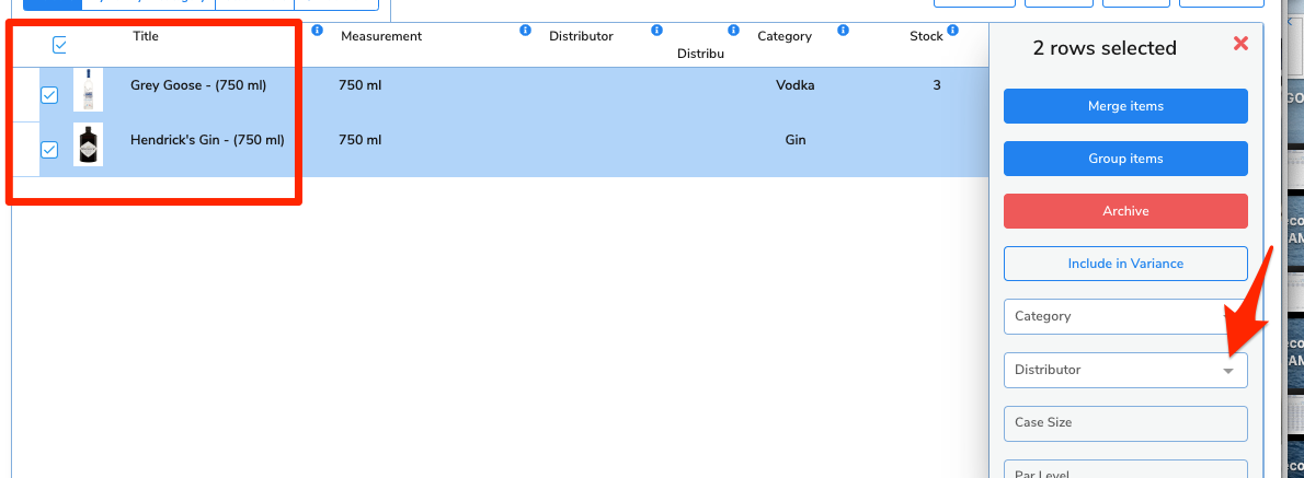 The checkboxes beside the items have been clicked and a side menu appears. An arrow points to