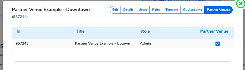 The venues show as linked when you switch to the other Partner Venue.