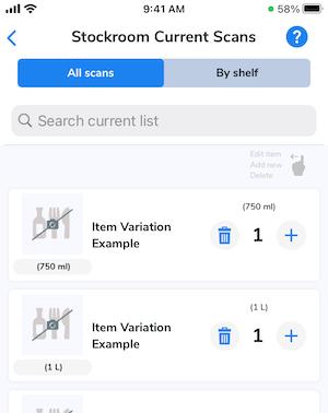 Each individual item variation displays on the