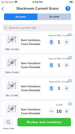 Each separate case size displays on the